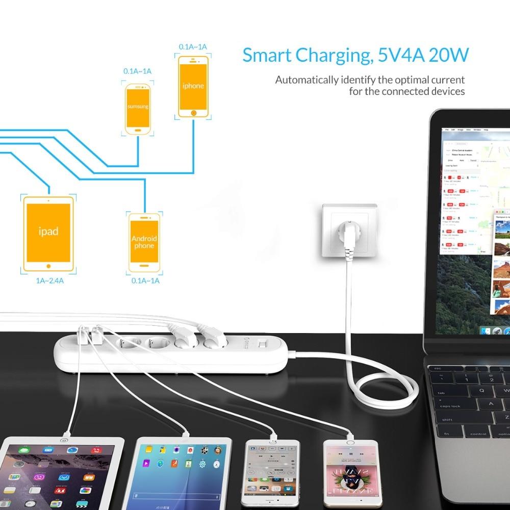 ORICO HPC EU/US/UK Plug 8 Outlet Surge Protector EU Power Stirp with 5 x 5V2.4A USB Super Charger Ports - White&Black