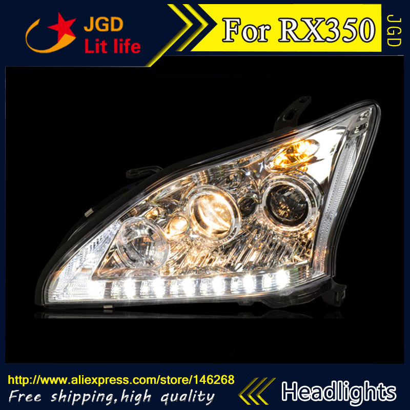 Free shipping ! Car styling LED HID Rio LED headlights Head Lamp case for Lexus RX350 Bi-Xenon Lens low beam