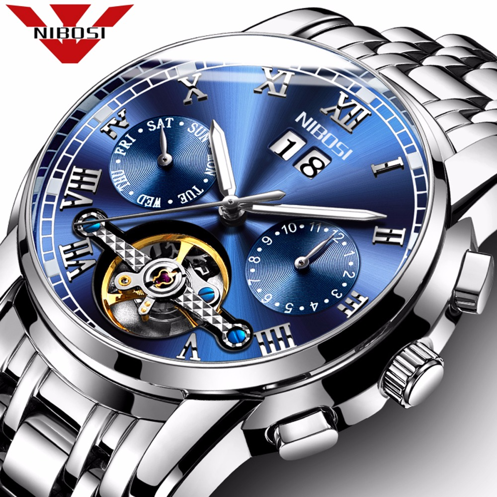 NIBOSI Mens Automatic Watch Mechanical Calendar Waterproof Watches For Men Luxury Brand With Import Automatic Self-wind Movement business men double tourbillon mechanical watches luxury brand male calendar waterproof watch automatic self wind wristwatch