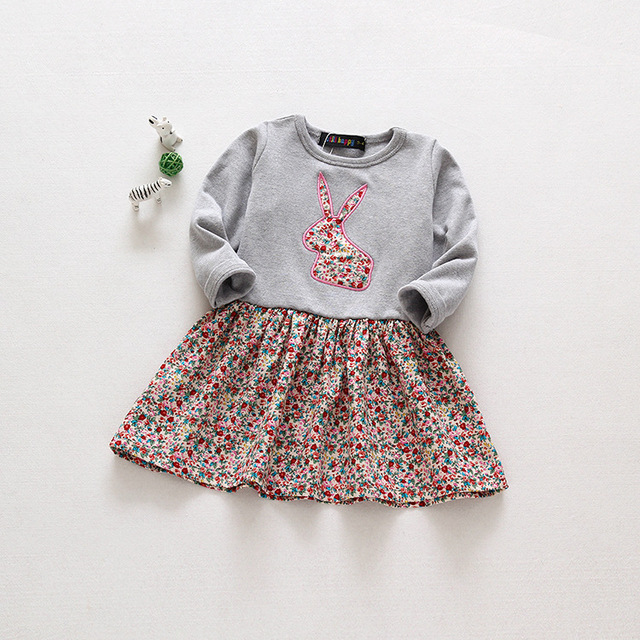 Spring Sweet Toddler Baby Girls Rabbit Style Dress Ruffles Casual Fashion Dresses Easter Dress Baby