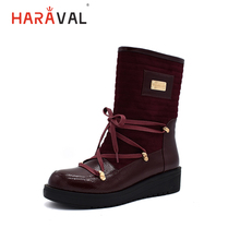 HARAVAL Women Winter Ankle Boots Lace Up Wine Red Round Toe Shoes Warm Comfortable 2019 New Fashion B205