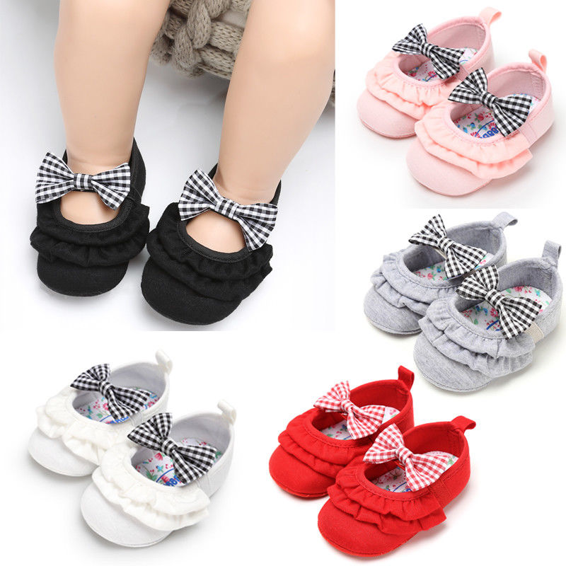Newborn Infant Baby Girls Boys Autumn Casual Crib Shoes 4 Style Cotton Bow Slip On Ruched Baby Soft Sole Shoes