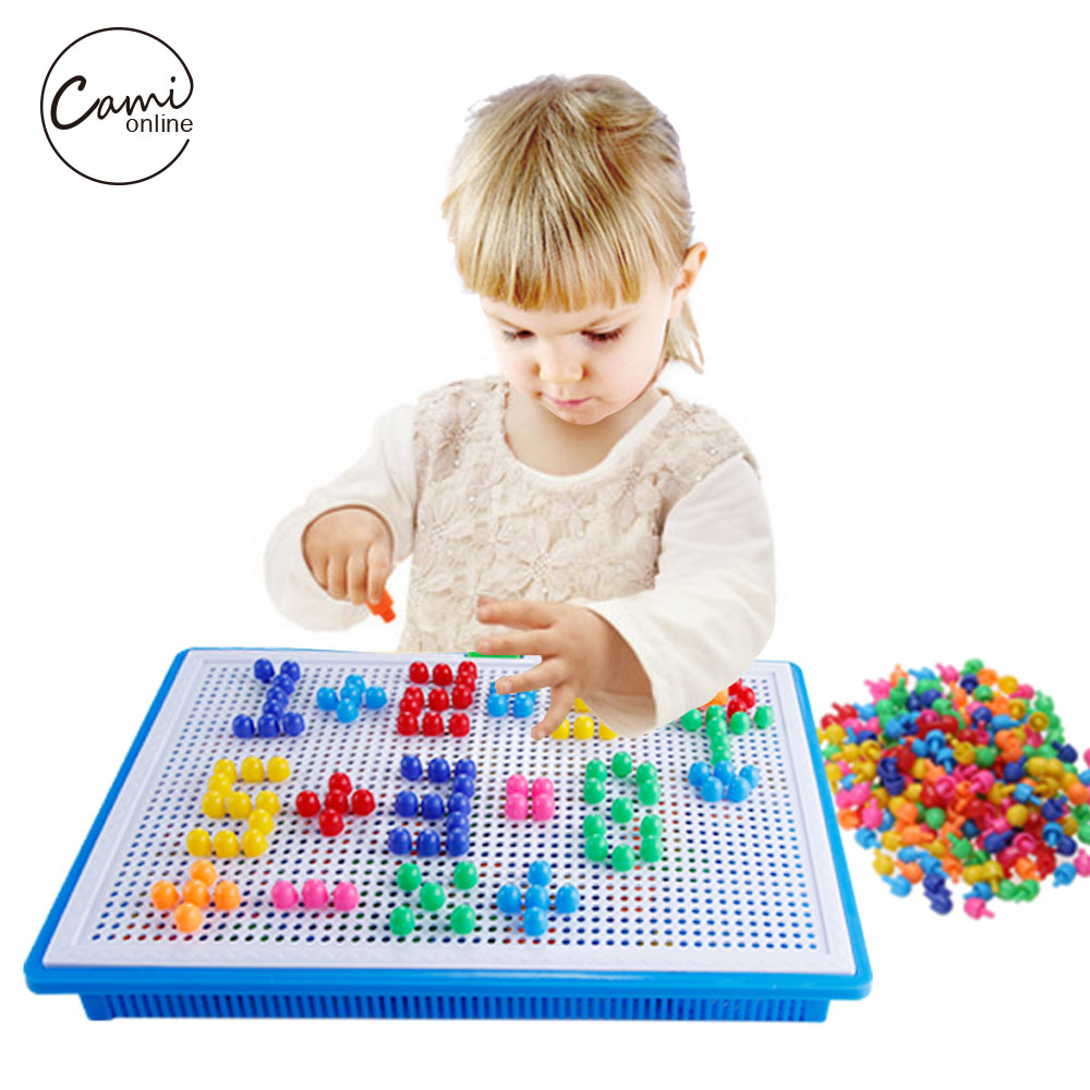 все цены на 296pcs Mosaic Picture Puzzle Toy Kids Composite Intellectual Educational Mushroom Nail Kit Flashboard Toys brinquedos juguetes