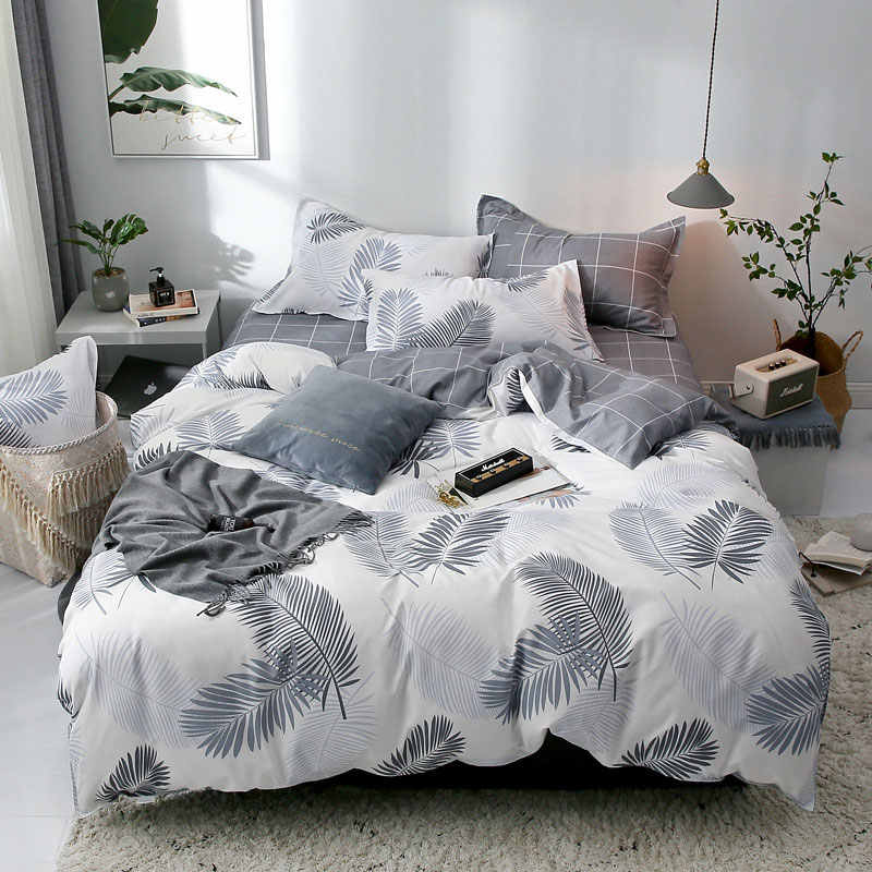 Tropical Leaf Plaids Geometric 4pcs Bed Cover Set Cartoon Duvet Cover Bed Sheets And Pillowcases Comforter Bedding Set40