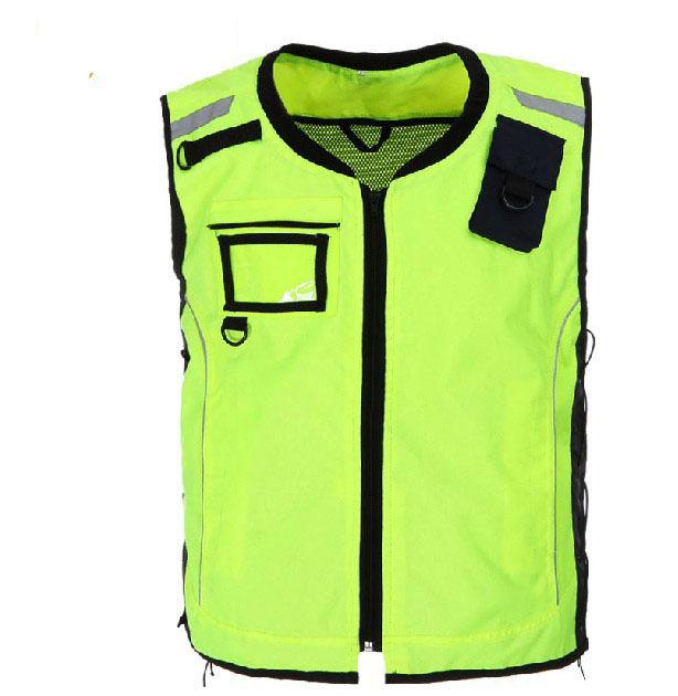 Equitação clothing vest segurança reflexivo colete à prova de vento roupas de trabalho fluorescente amarela m-xl tamanho v041101