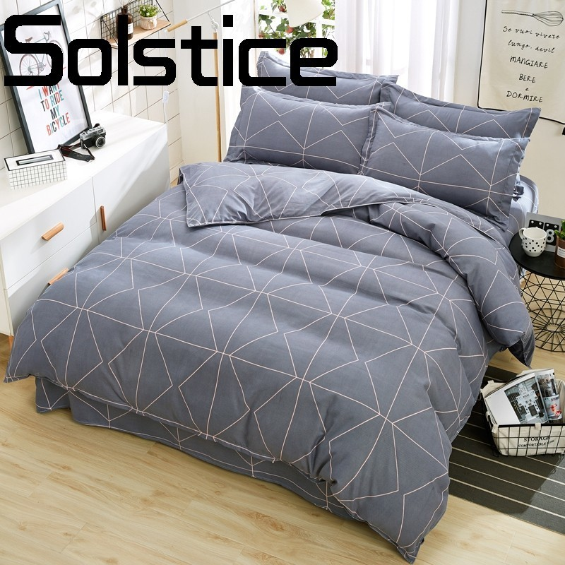 Solstice Pillowcase Sheets Quilt-Cover Bedding Home-Textile Plaid Comfortable Classic
