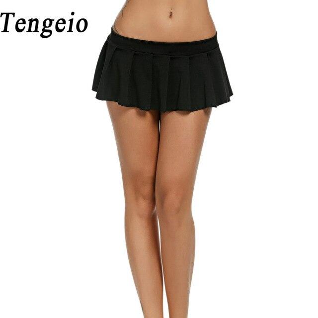 ee6e1f3951a6 Tengeio Femmes Cosplay Micro Mini Jupe Noir Blanc Rose Vert Bleu ...