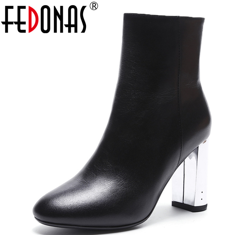 FEDONAS 2018 Women Genuine Leather Ankle Boots Thick High Heeled Autumn Winter Warm Shoes Side Zipper High Motorcycle Boots classic winter boots leather shoes leather high heeled boots boots side zipper rose