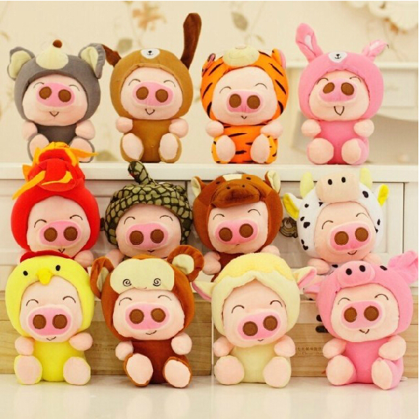 12pcs/lot 18cm Twelve Zodiac McDull Pig Plush Toy Stuffed Doll Car Pendant Stuffed Animal Gift For Girls And Children long yi painted red lacquer carving pendant with rich fish car hongfu snake zodiac mascot 2000599 years