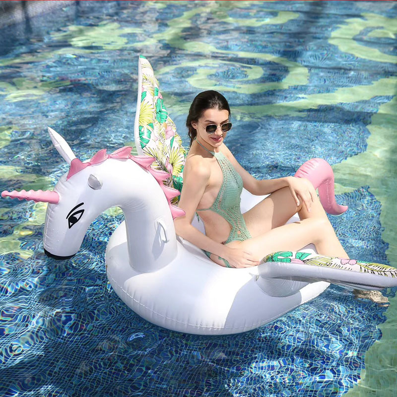 200cm Giant Inflatable Unicorn Pool Float Ride On Pegasus Swimming Ring For Adult Children Water Party