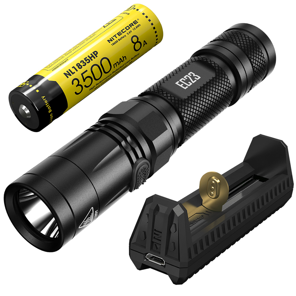 NITECORE 1800 Lumens EC23 Flashlight + F1 Power Bank Charger + 18650 Battery Outdoor Camping Hiking Portable Torch Free Shipping 2017 new nitecore p12 tactical flashlight cree xm l2 u2 led 1000lm 18650 outdoor camping pocket edc portable torch free shipping