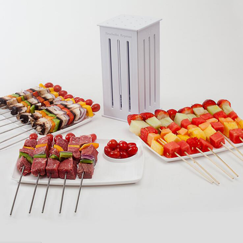 16 Holes Brochette Express Kebab Maker Box Food Slicer BBQ Grill Beef Meat Skewer With Bamboo Skewers Barbecue Kitchen Tools
