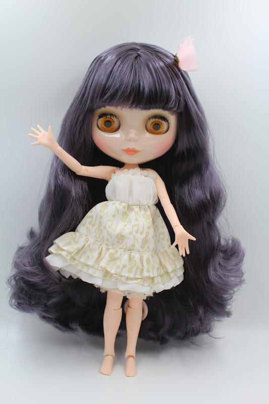 Free Shipping BJD joint RBL-311J DIY Nude Blyth doll birthday gift for girl 4 colour big eyes dolls with beautiful Hair cute toy