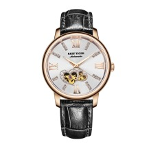 Reef Tiger RGA1580 Luxury Austria Crystal Hollow Out Dial Women Lady Automatic Meachanical Wrist Watch With Leather Strap – Gold