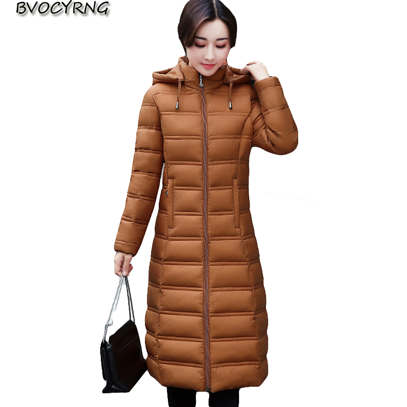 Women's Winter Cotton Padded Jackets Plus size Slim Coat Parka Warm Long Jackets Hooded Overcoat Female Thickening Parkas Q879 warm winter jackets women fashion cotton parkas casual hooded long coat thickening parka zipper cotton slim outwear plus size