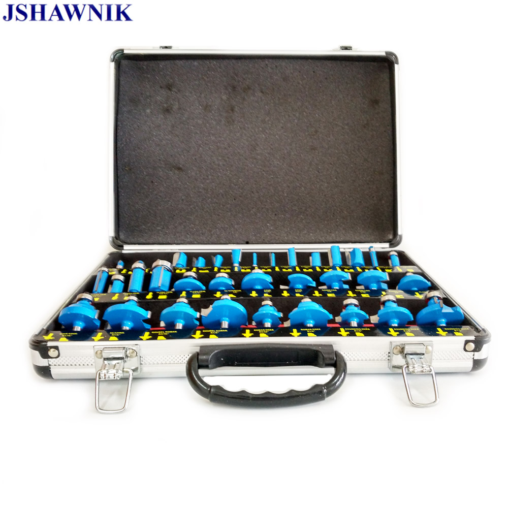 35Pcs 1/4 Shank 6.35mm Router Bit Set Carbide Professional Woodworking Cutting Tools Engraving Milling With Aluminum Suitcase35Pcs 1/4 Shank 6.35mm Router Bit Set Carbide Professional Woodworking Cutting Tools Engraving Milling With Aluminum Suitcase