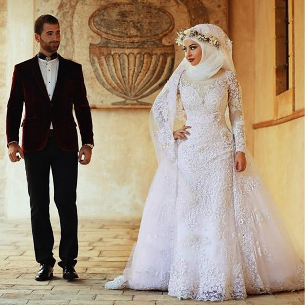 2016 luxury white muslim women wedding clothes gown lace wedding 2016 luxury white muslim women wedding clothes gown lace wedding bridal dresses detachable train vestidos de novia full sleeve in wedding dresses from ombrellifo Image collections