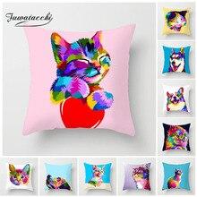 Fuwatacchi милый чехол для подушки с изображением животных разноцветный бульдог кошка Хаски корги чехол для подушки для декоративного домашнего дивана автомобиля чехол s