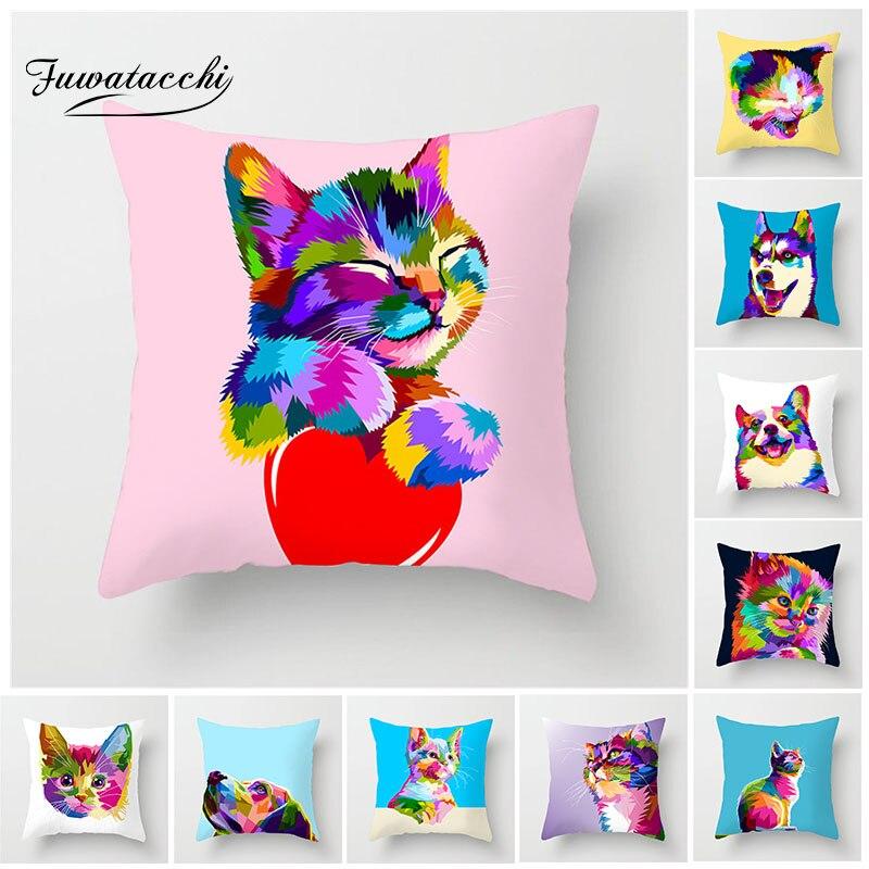 Fuwatacchi Cute Animal Cushion Cover Colorful Bulldog Cat Husky Corgi Case for Decorative Home Sofa Car Pillowcases