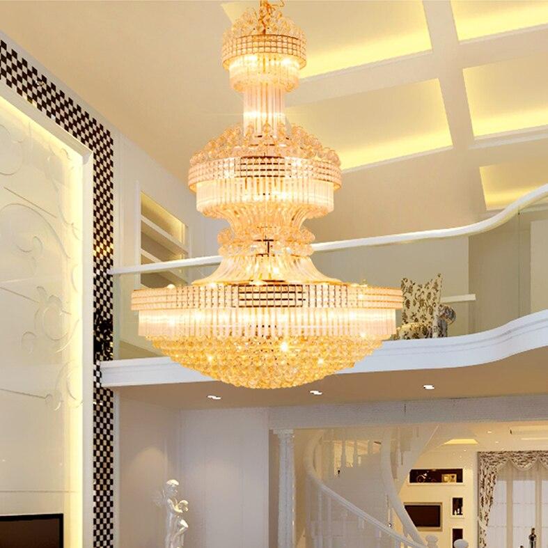 Moderne Kristall kronleuchter Lange Gold Kronleuchter Leuchte Warmweiß Neutralweiß Kühles Weiß 3 Farben Dimmbare Led lampen - 3