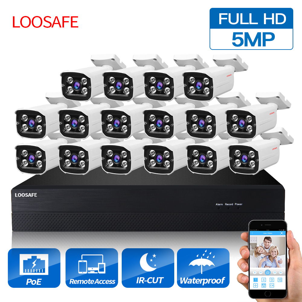 LOOSAFE POE Surveillance Cameras System 16CH 5.0MP Security Camera POE HD CCTV DVR 16PCS 5.0 MP IR Outdoor Security Camera Kit