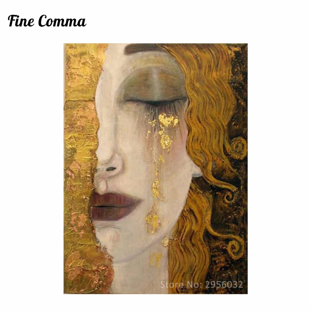 Golden Tears by Gustav Klimt Hand painted Oil Painting Reproduction Replica Wall Art Can ...