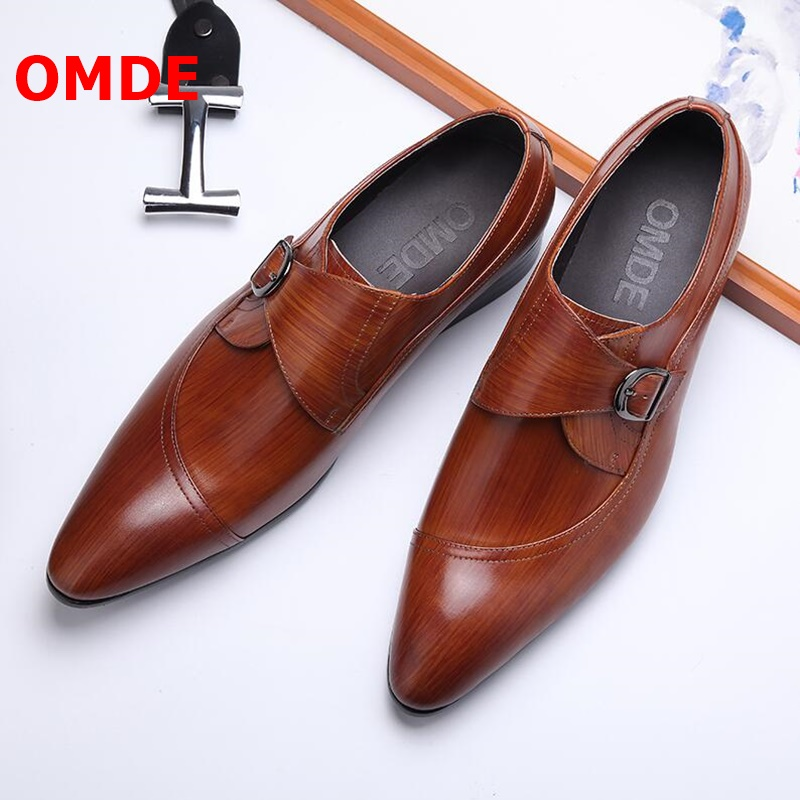 OMDE New Fashion Pointed Toe Leather Shoes Men Buckle Dress Loafers Luxury Breathable Slip On Mens Wedding And Banquet Shoes OMDE New Fashion Pointed Toe Leather Shoes Men Buckle Dress Loafers Luxury Breathable Slip On Mens Wedding And Banquet Shoes