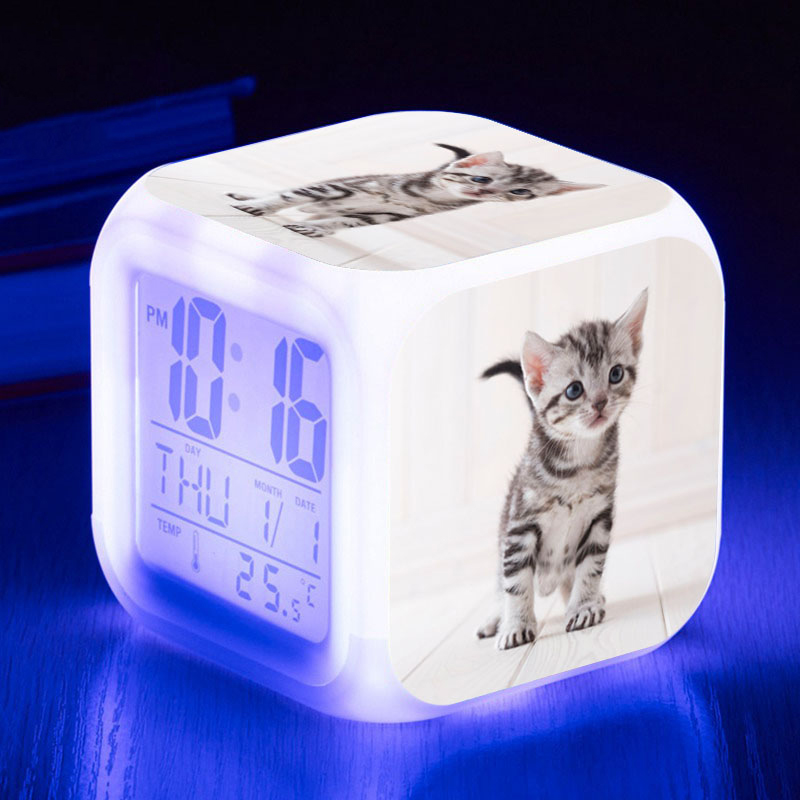 Pets Cat Graphics LED Alarm Clock Night Light Cute Animal Digital Watch For Children Color Changing Lamp Clock Reloj Despertador