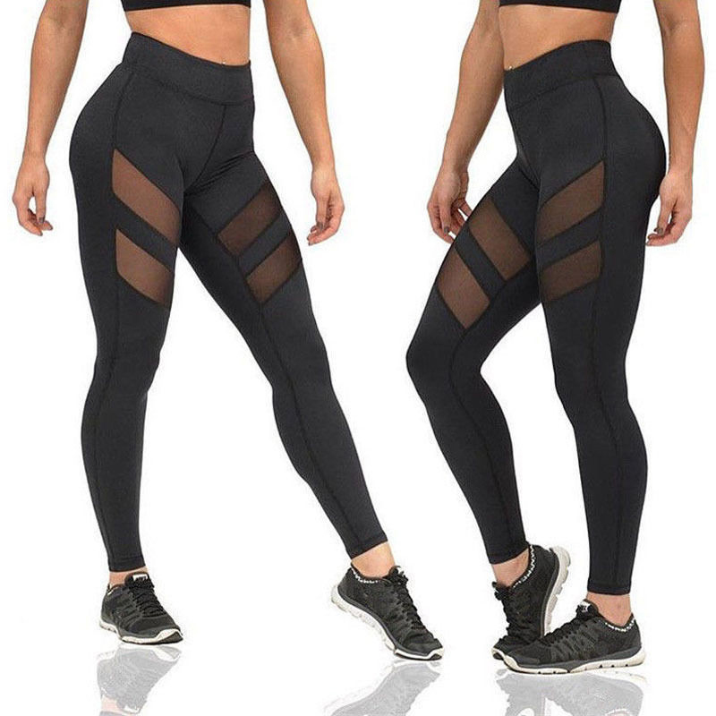 Fitness   Leggings   for Women Mesh Splice Fitness Slim Black   Leggings   Pants Ladies Sportswear Clothes Leggins Trouser AQ801968