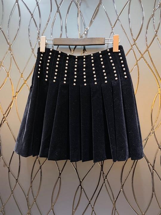 L'hiver Automne Décoration Noir Fold L'industrie Lourde Vêtements Perle D'ongle De 2018 Européen Pression Américain Nouvelles Femmes Et A1119 fSxWnqw4