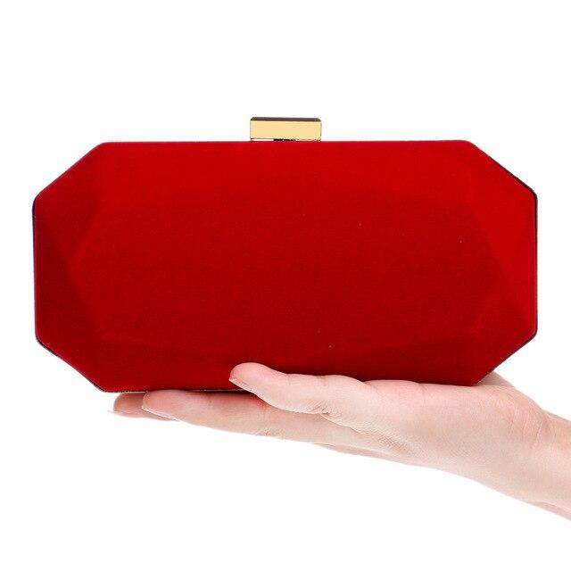 New Arrival Rhombic Red Velvet Clutch Bag Woman 2017 Suede Evening Bags Black Shoulder Handbags