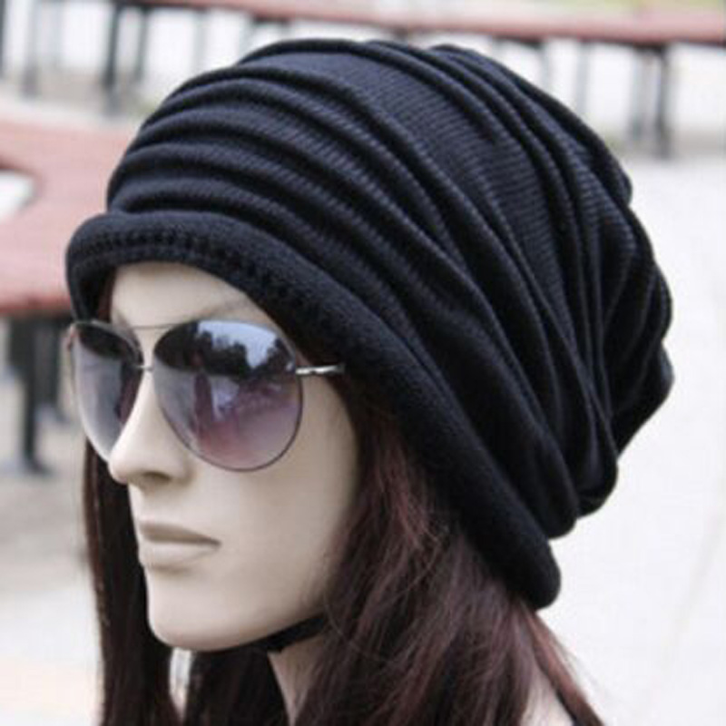 1 Pcs 2017 New Star Brand Knitted Caps Fashion Folding Winter Hats For Women And Men Skullies Beanies Acrylic Cotton 4 Colors