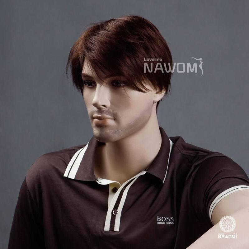 Free Shipping Men S Short Synthetic Hair Wigs Dark Auburn Color