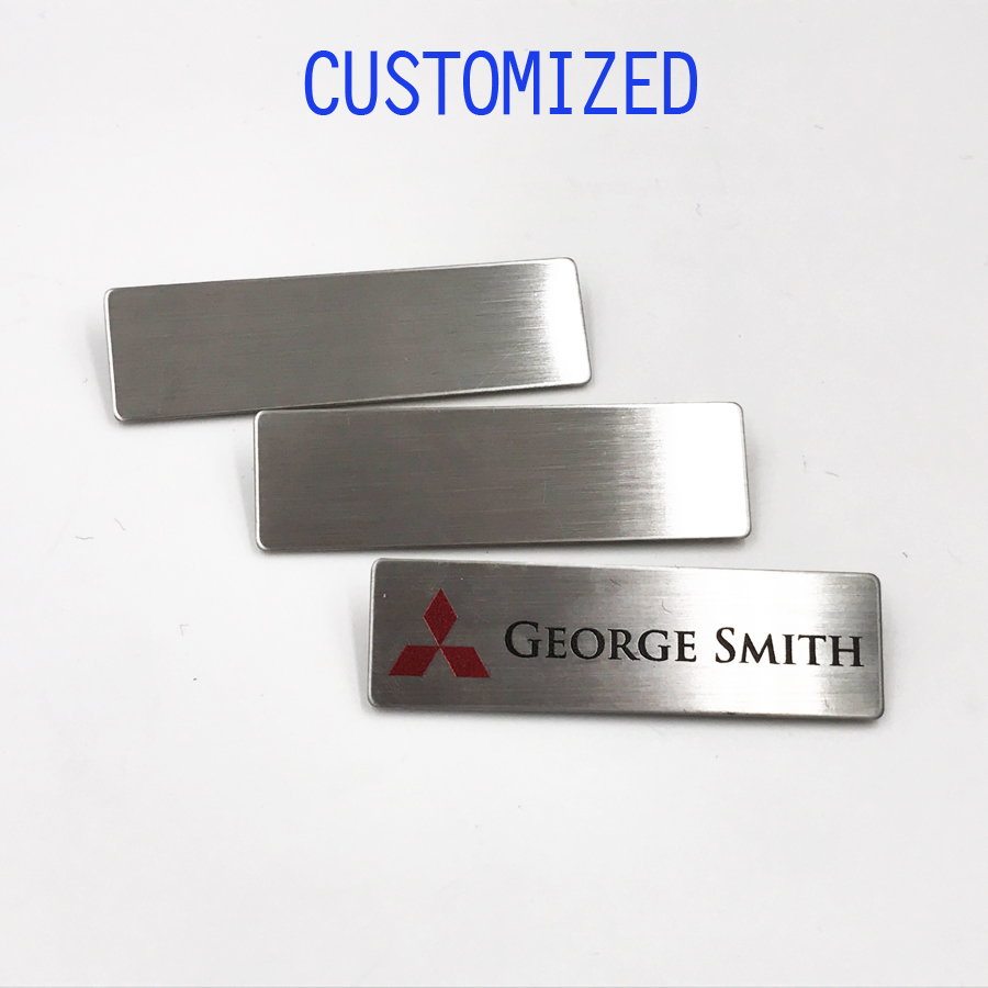 Customized Personalized Brushed Aluminum Name Tags with Pin, logo with name, ID Badge Custom Engraved,7x2cmCustomized Personalized Brushed Aluminum Name Tags with Pin, logo with name, ID Badge Custom Engraved,7x2cm