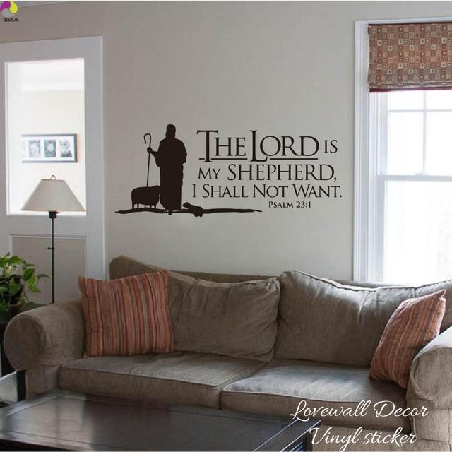 Psalmen 23 De HEER is Mijn Herder Citaat Muursticker Slaapkamer Sofa ...