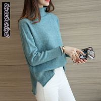 The New Winter Downneck Korean Split Ends Before Long After Short Drop Shoulder Loose Sweater Female