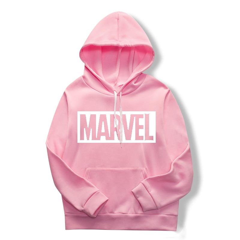 New Spring Hooded Sweatshirt Woman Harajuku Fashion MARVEL Single Women's Pullover Kawaii Pink Oversized Hooded Top Woman