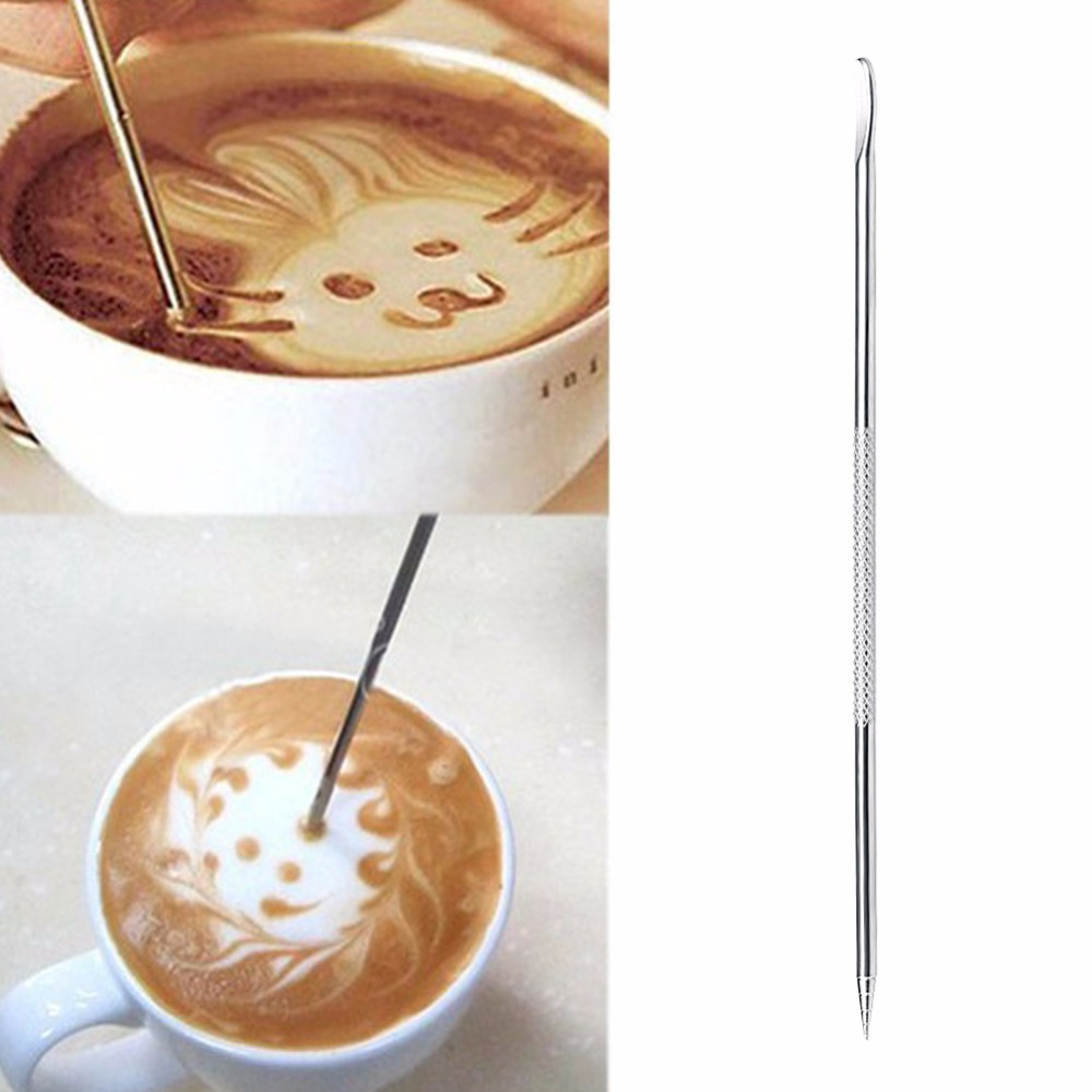 Useful Stainless Steel Barista Cappuccino Latte Espresso Coffee Decorating Pen Art Household Kitchen Cafe Tool Coffee Stencils