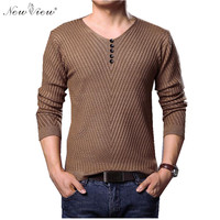 Brand New Fashion Solid Color Pullover Men V Neck Sweater Men Long Sleeve Shirt Mens Sweaters