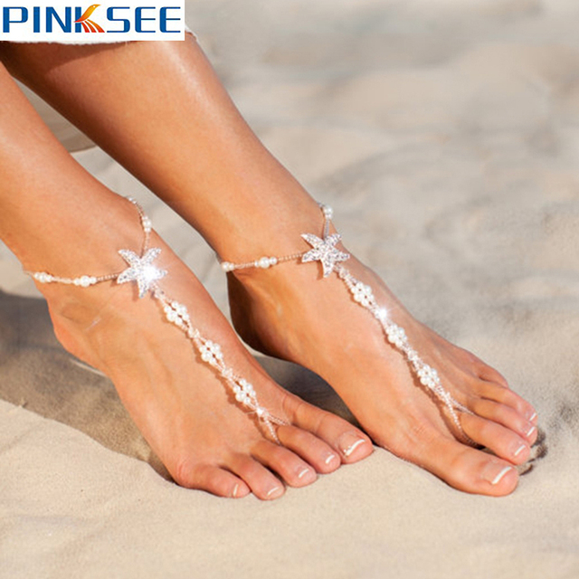 e8b0be35041 Sexy White Beaded Barefoot Sandals Beach Foot Jewelry With Starfish Anklets  For Women 2017 Summer Ankle Bracelet 1 Pair