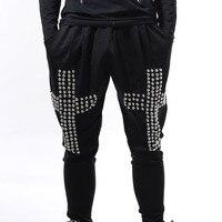 Fashion Men's Black Cross Rivets Harem Pants Male Hiphop punk style loose pants nightclub dj loose pant male costume