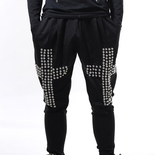 Masculino Hiphop ds dj roupas calças bloomers traje masculino cruz rebites harem calças