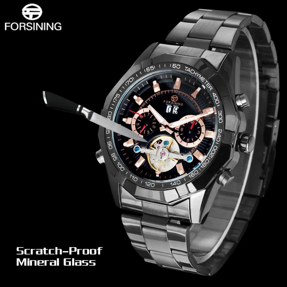 FORSINING hommes Top marque montre de luxe Tourbillon Auto mécanique montres Bracelet en acier inoxydable horloge Relogio Masculino - 5