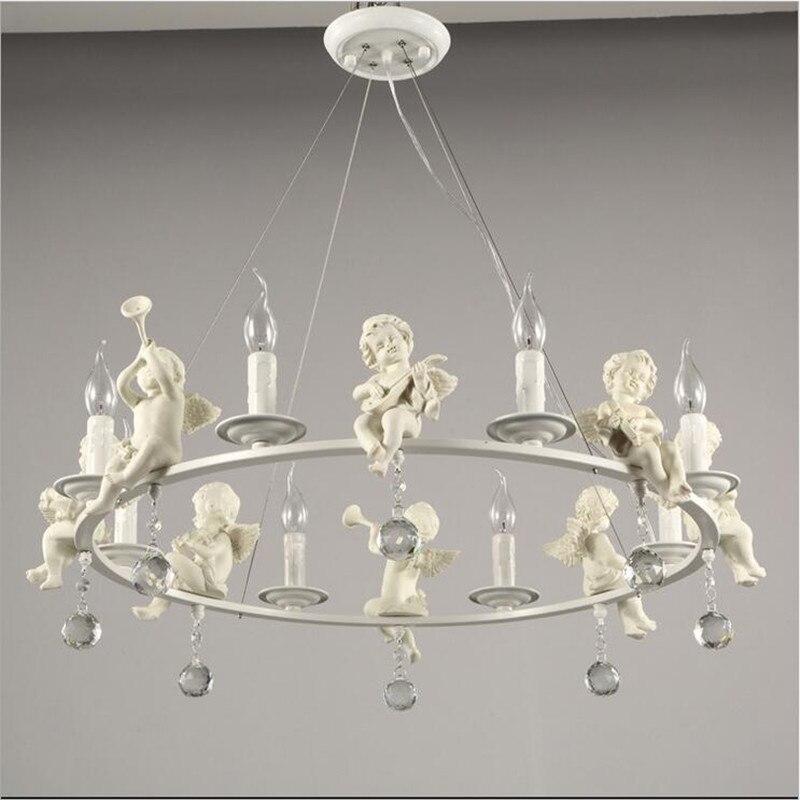 modern resin angel chandelier led lamps living room dining room crystal chandelier e14 led lustre light