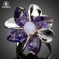 Elegant 8pcs Petals Flower With Stellux Austrian Crystal Adjustable Size Ring FREE SHIPPING Azora TR0118