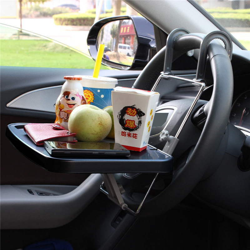 Car Laptop Tray Table Stand PC Mount Holder Desk Table Drink Food Cup Tray Multifunctional Car SUV Steering Wheel Seatback Tray