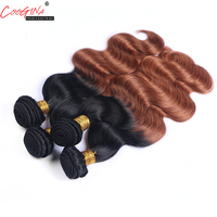 Coogina Women Two Tone Ombre Pre Colored Peruvian Body Wave Hair Bundles 1B/30 Ombre Human Hair Extension Brazilian Remy Hair