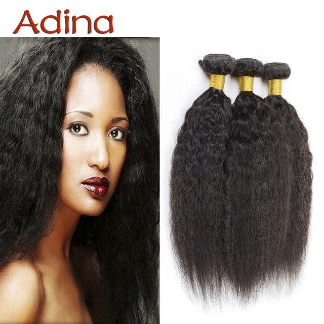 Virgin Human Hair Brazilian Virgin Hair Kinky Straight 3 Bundles 100% Human Hair Brazillian Coarse Yaki Human Real  Weave Beauty