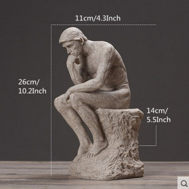 VILEAD 26cm Resin Sandstone Thinkers Statue Retro Creative People Ornaments Home Decorations Accessories Handmade Crafts Gifts 5