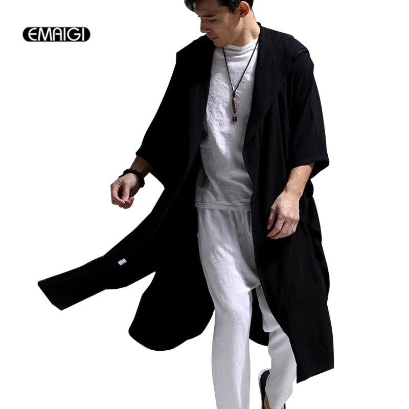 White Blue Black High Quality Cotton Linen Men Women Trench Coat Male Hooded Cloak Long Windbreaker Cardigan Trench Jacket
